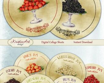 75% OFF SALE Fruit Jam - Digital Collage Sheet - Digital cards C119 printable download cooking tags digital round image cooking atc card