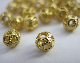 100 Gold Filigree Beads (4mm) Gold Colour Plated Round Metal Spacer Hollow Beads Jewelry Making Beads Crafts
