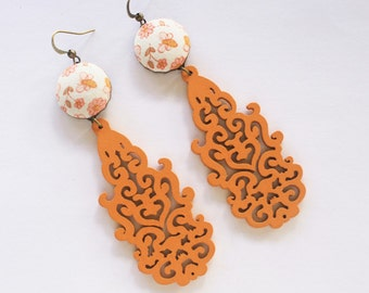 Boho chic earrings, bohemian earrings, long earrings, hippie earrings, orange earrings, filigree wood earrings, long earrings