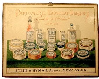 "Antique French Sign: ""Parfumerie Ladvcot-Darquet"" LIthograph"