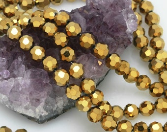 Lot of 5 strands 8mm Metallic Gold Chinese Glass Round Loose Spacer Beads 72 beads/strand (BH5272)