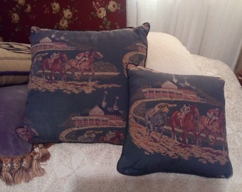 At the Rces..Pair of Horse Racing Toss Pillows...Kentucky Derby???? Maybe