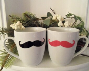"""Couples Mustache Mug, Black, Pink Mustaches, Housewares, Cups, Mugs, Mustache, His and Hers, couples mugs, Valentine""""s Day Gifts"""