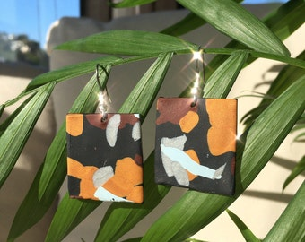 Hand-Shaped Earth Tone Ceramic Earrings // Stone Slab Series 03