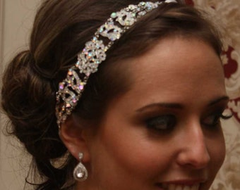 Antoinette - Silver AB Crystals Rhinestones Headpiece with a Vintage Flair w/combs