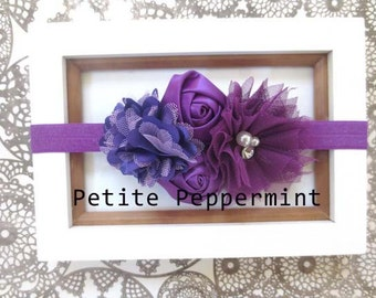 Baby headband, baby girl headband, newborn headband, toddler headband - Purple Flower With Purple Headband For Baby, Toddler, Little Girl