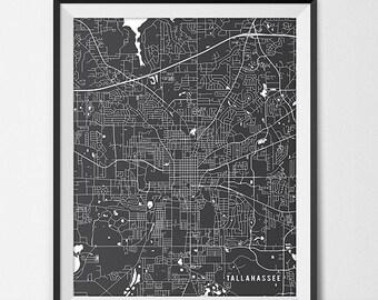 Tallahassee Florida State Map Art Print, Florida State University Poster Gift Dorm Decor Graduation Gift Tallahassee Art Gift