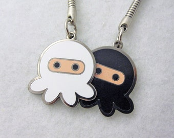 Deluxe White Ninja Black Ninja Octopus Dual Sided Keychain