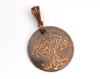 Etched copper tree pendant, small round flat jewelry, Cynthia Thornton artwork, optional necklace, 25mm