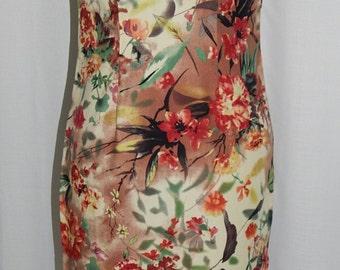 1980s Cheongsam dress//Oriental dress//Mandarin collar//Floral dress//Watercolor print//1980s fitted dress//Red flowers