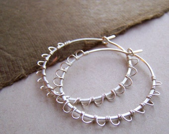 Sterling Silver Hand Forged Hoop Earrings, Wire Wrapped Sterling Silver Earings, Boho Style Hoop Earrings