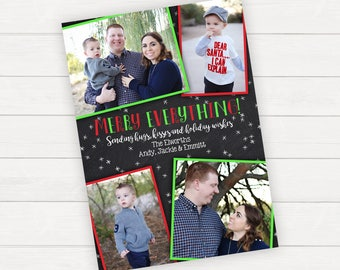Christmas Cards Family Christmas Cards Holiday Photo Cards Christmas Photo Cards Digital Christmas Cards Red and Green Christmas Cards