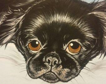 BENUTZERDEFINIERTE Haustier Porträtmalerei 11 x 14 pet Verlust, Haustier-Gedenkstätte, pet-Liebhaber-Geschenk
