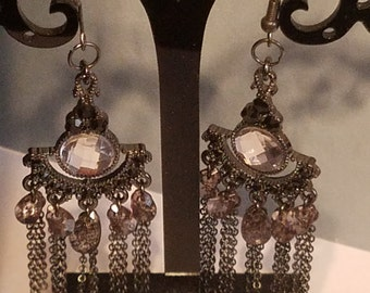 Gunmetal Gemstone Chandelier Earring