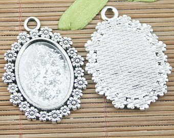 6pcs Tibetan silver flower oval cameo cabochon settings EF1220
