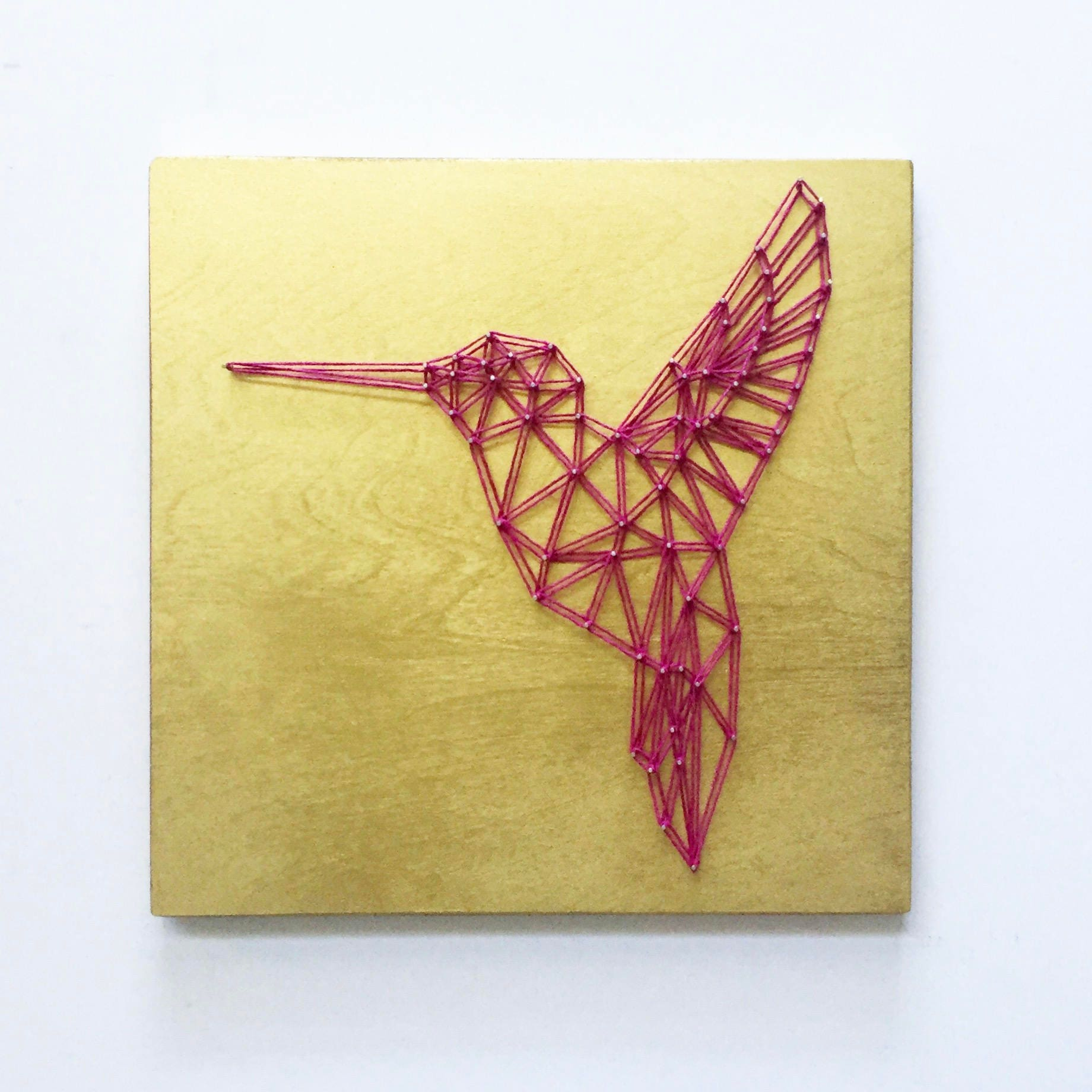 Geometric Hummingbird String Art Geometric Art Bird Art
