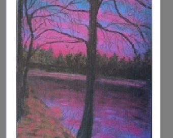 "PRINT of Original Soft Pastel Painting, Sunset Artwork, Landscape Art, ""Early Morning Colors"""