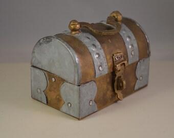 Vintage metal,brass,jewelry box, thin brass storage box,chest