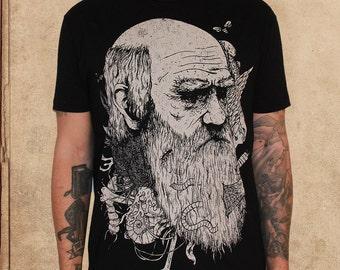 Charles Darwin - Origin of Species - black - discharge ink - natural selection