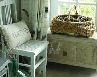 """Large French antique basket,  21"""" rustic gathering basket, buttocks basket  Kindling wood basket  Country home"""