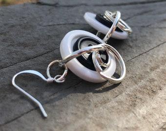 Black and white button earrings, bohemian earrings, upcycled earrings, boho earrings, hippy earrings, unique earrings, button earrings