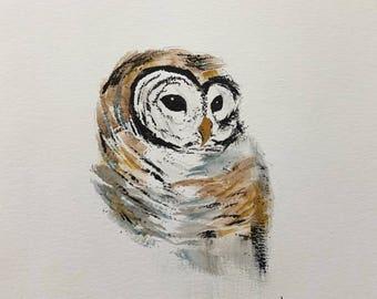 Watercolor Barred Owl Print, Owl Painting, Owl watercolor