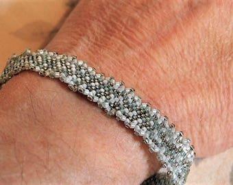 Silver Gray Narrow Peyote Stitch Handwoven Cuff Bracelet