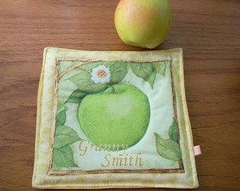 Apple Orchard Granny Smith Apple, Quilted Fabric Hotmats, Handmade Coffee Mug Rug, Coaster