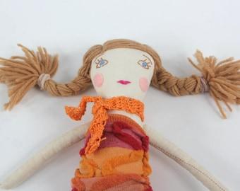 Handmade cloth doll cotton doll blonde doll Ready to ship