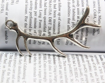 Antler Charms - Antique silver Deer Horn Charm Pendants  32*68mm