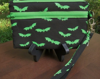 READY to SHIP-Wristlet/Wallet/Zipper/Phone Bag-Bright Green Bats