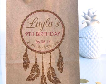 Personalised Stand Kraft Lolly Donut Paper Bags Favour Dreamcatcher Boho Pink and Gold Birthday Party