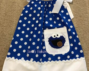 Cookie Monster Dress - Sesame Street Blue Monster Dress - Cookie Monster embroidered Pillowcase Dress - Fashion Muppets Dress