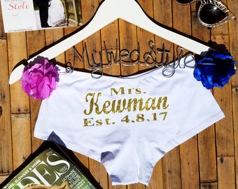 Personalized Lingerie, Personalized Bride Boyshorts, Honeymoon Lingerie, Wedding Lingerie, Bridal Underwear, Bachelorette Party Gift