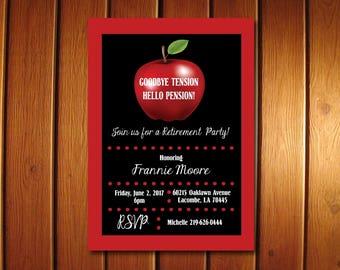 Teacher Retirement Invitation • Apple Teacher Retirement Party Invite • Printable Digital Invitations