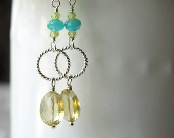 Lemon Quartz Earrings / Yellow Earrings / Cubic Zirconia Yellow and Turquoise Sterling Silver Earrings / Yellow Gemstone Earrings