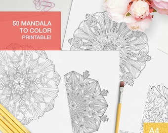 50 mandala coloring pages for adults PRINTABLE - adult coloring book stress relief - adulting reward - mandalas to color
