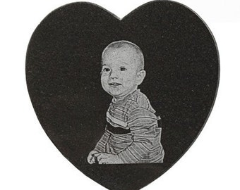 Black Marble 5-inch Heart - Laser Engraved with Your Photo