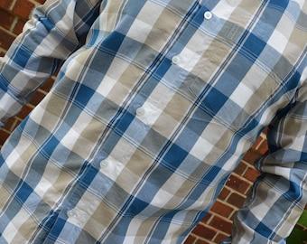 Men's Handmade Cotton Short or Long Sleeve Button Down Pocket Dress Shirt - Blue Tan White Traditional Plaid - Brett I892