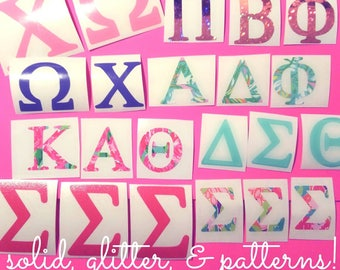 Sorority Greek Letter Decals-solid colors, lilly prints, & glitter! Set of 3 Greek Letter Decals, you choose letters