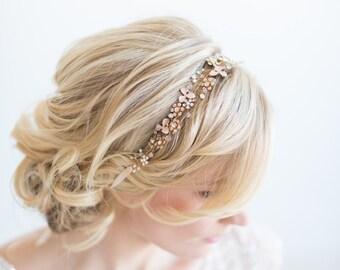 Gold Blush Pink Bridal Hair Vine, Gold Floral Headpiece, Wedding Hair Vine, Wedding Headpiece, Wedding Ribbon Headband, Boho Wedding