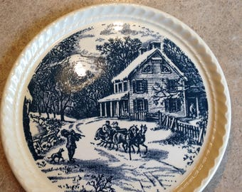 "7 3/4"" The currier & Ives Pattern plate by Royal China in Sebring Ohio"