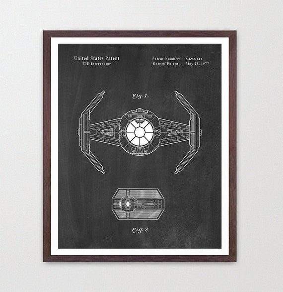 Star Wars - TIE Fighter - Star Wars Patent - Star Wars Poster - Death Star - TIE Fighter Patent - Darth Vader Poster - Sci Fi Patent