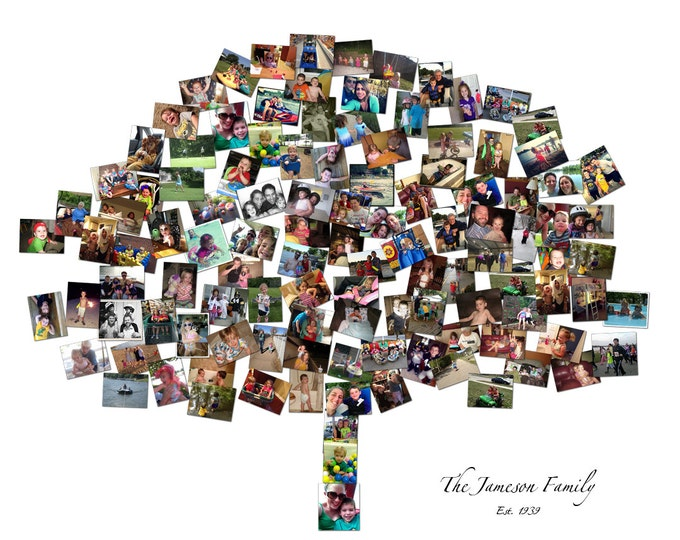 Family Tree Template Family Tree Maker Family Tree Wall Art Family Tree Art Wall Family Tree Mosaic Collage Picture Gift  Wall Art 20x24