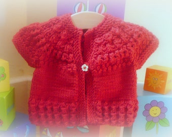 Knitting PATTERN Seamless Top Down Baby Girl CARDIGAN Jacket Sweater -  Ruby a top down seamless yoked cardigan