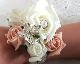 Bespoke White & Ivory rose flower wrist corsage Wedding Prom bridal pearl and diamante