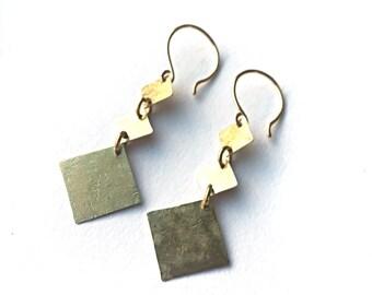 Hammered raw brass geometric earrings
