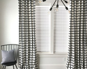 Windowpane Plaid Drapes,  Black and White Drapes, Check Drapes, Plaid Window Treatment, Mid-Century Drapes, Curtains, Window Covering