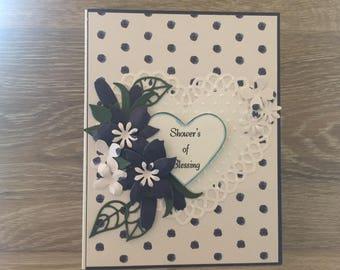 Crisp Navy & White Wedding Shower Card, Shower's of Blessing Card, Bridal Shower Card