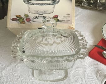 Indiana Crystal Glass Oblong Candy Box/Dish/Bonbonniere and Cover